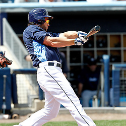 March 21, 2012; Port Charlotte, FL, USA;Tampa Bay Rays left fielder Luke Scott (30) against the New York Yankees during a spring training game at Charlotte Sports Park.  Mandatory Credit: Derick E. Hingle-US PRESSWIRE