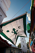 Flag hung over a courtyard in the Dargah Shareef shrine. Nagore.