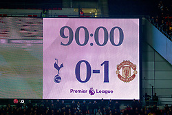 LONDON, ENGLAND - Sunday, January 13, 2019: The Wembley scoreboard records Manchester United's 1-0 victory during the FA Premier League match between Tottenham Hotspur FC and Manchester United FC at Wembley Stadium. (Pic by David Rawcliffe/Propaganda)