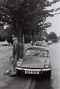 Laul Clements with Triumph Spitfire, UK, 1984