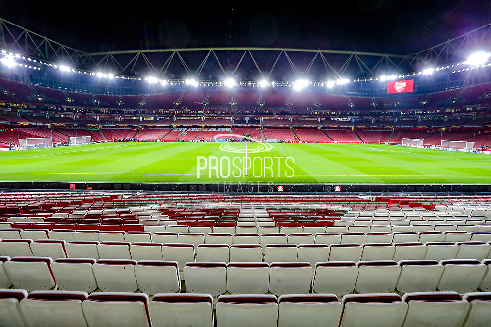 General stadium view inside the Emirates Stadium before the Europa League match between Arsenal and Eintracht Frankfurt at the Emirates Stadium, London, England on 28 November 2019.