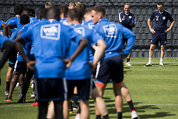 July 31, 2018 - Gent, BELGIUM - Gent's head coach Yves Vanderhaeghe and Gent's keeper coach Francky Vandendriessche pictured during a training session of Belgian soccer team KAA Gent, Tuesday 31 July 2018, in Gent. BELGA PHOTO JASPER JACOBS (Credit Image: © Jasper Jacobs/Belga via ZUMA Press)