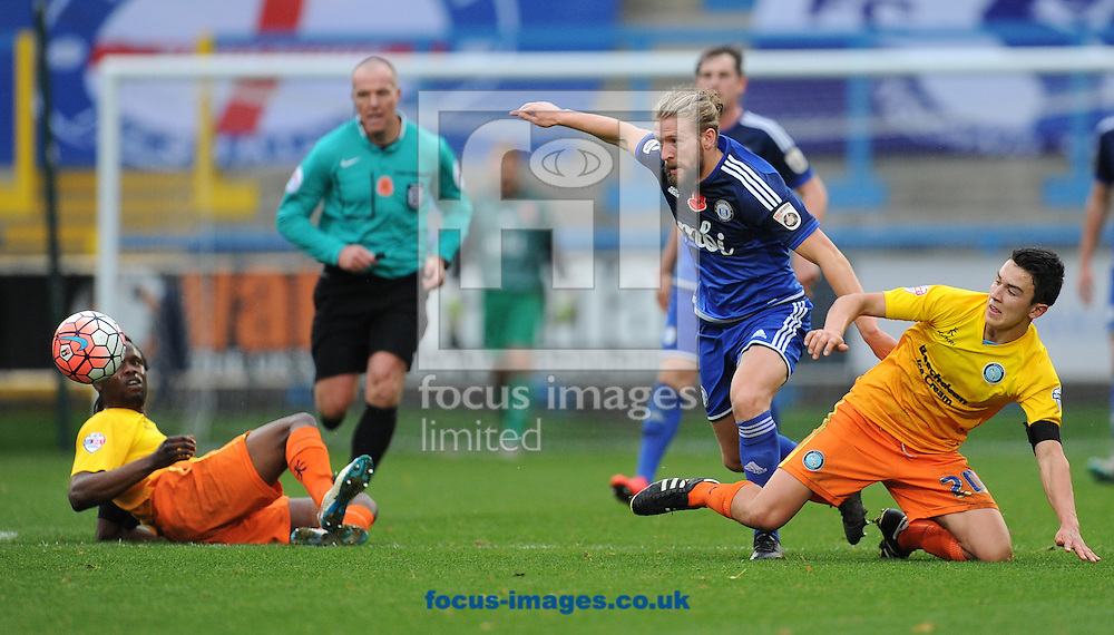 Kingsley James of FC Halifax makes a break during the FA Cup match at Shay Stadium, Halifax<br /> Picture by Richard Land/Focus Images Ltd +44 7713 507003<br /> 08/11/2015