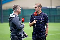 SOUTH BEND, INDIANA, USA - Thursday, July 18, 2019: Liverpool FC TV reporter Peter McDowell with Club Ambassador Jason McAteer during a training session ahead of the friendly match against Borussia Dortmund at the Notre Dame Stadium on day three of the club's pre-season tour of America. (Pic by David Rawcliffe/Propaganda)