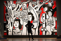 © licensed to London News Pictures. London, UK 01/02/2013. 'Les femmes au perroquet', an after design by Fernand Leger expected to be sold for £300,000-500,000 in Christie's Impressionist and Modern Art sale which will take place in London on 6th February 2013, total pre-sale estimate of the auction is £98.3 million to £146.58 million. Photo credit: Tolga Akmen/LNP