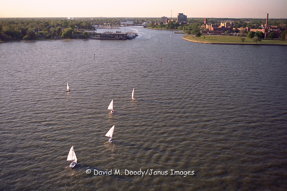 Hampton , Virginia on the James River Sailboats with Hampton University at right.