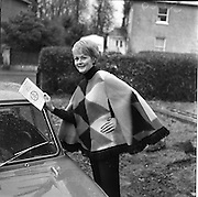 "12/01/1965.01/12/1965.12 January 1965.""Rosemary Smith the only Irish lady competitor in the Monte Carlo Rally wearing a poncho cape of her own design that she now cannot wear as the colour would clash with her new Hillman Imp in the rally."""