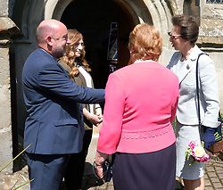 ** Exclusive **<br /> <br /> Princess Royal visits Kirk of Calder, Thursday 25th May 2017<br /> <br /> The Princess Royal visited Kirk of Calder in Mid Calder, Livingston today to accept a cheque on behalf of The Vine Trust.<br /> <br /> 3-year-old Fern Nelson presents the Princess Royal with a posy.<br /> <br /> &pound;85,500 has been raised by members and organisations of the kirk to help fund an orphanage in Tanzania.<br /> <br /> There was an increased police presence due to the recent Manchester bombing.<br /> <br /> (c) Alex Todd   Edinburgh Elite media