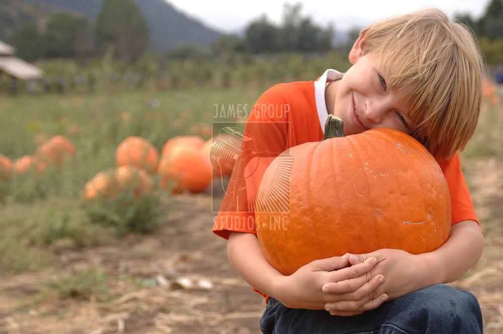 Boy holding a pumpkin in a pumpkin patch