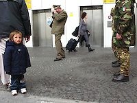 Rome, 18 March 2008..Shaban stand next to his father Janat, and wait to get on board of a military flight that will take them back to their family in Afghanistan...After her surgical operation on the 4th of February 2008, she has spent over a month for recovering together with her father Janat and Kash. The operation was succeseful and despite they enjoyed their stay in Italy, they decided to go back to Kabul and carry on with their life together with their family....On the first Friday of February 2008 Shabana and Janat have spent the afternoon in the center of Rome enjoying the sunny day and eating a delicious pizza,  after taking part to the Press Conference organized early in the morning at Sala dell'Arazzo in Campidoglio..At about sunset of this long and exhilarating day, Shabana was admitted at the Fatebenefratelli St Peter's Hospital, together .with her father Janat..The following Monday, the 4th of Feb, she underwent to a three-hour surgical operation performed by Professor Fabio Massimo Abenavoli - president of Smile Train Italia..The following day Shabana was smiling again..... .A week later, Shabana Janat e Gabriele leaves Rome towards Salento... On 30 January 2008, an Italian military plane carrying a tiny four-year-old girl leave the Afghan capital Kabul headed towards Ciampino airport in Rome. The young passenger is Shabana, who suffers from a.mysterious neurofibroma, a tumor, that if left unchecked causes severe nerve damage and, ultimately, death..At nine months Shabana underwent a very delicate surgical operation at the hands of Afghan doctors. .Now, she will undergo her second operation, in Rome, which will bring together Western and Afghan surgeons..Shabana?s story so far, including her first operation in Kabul, results from the work of Italian photojournalist Kash Gabriele Torsello, who became known to the international press in October 2006 as he was kidnapped and detained in Afghanistan. Since his release, Kash has been working to develop a pro