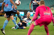 SYDNEY, AUSTRALIA - APRIL 06: Melbourne Victory forward James Troisi (10) tries to get the ball past the defenders at round 24 of the Hyundai A-League Soccer between Sydney FC and Melbourne Victory on April 06, 2019, at The Sydney Cricket Ground in Sydney, Australia. (Photo by Speed Media/Icon Sportswire)