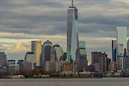 Freedon Tower, 1 WTC, the tallest skyscraper in the Western Hemisphere, designed by David Childs, Statue of Liberty, New York City Skyline, Manhattan, New York
