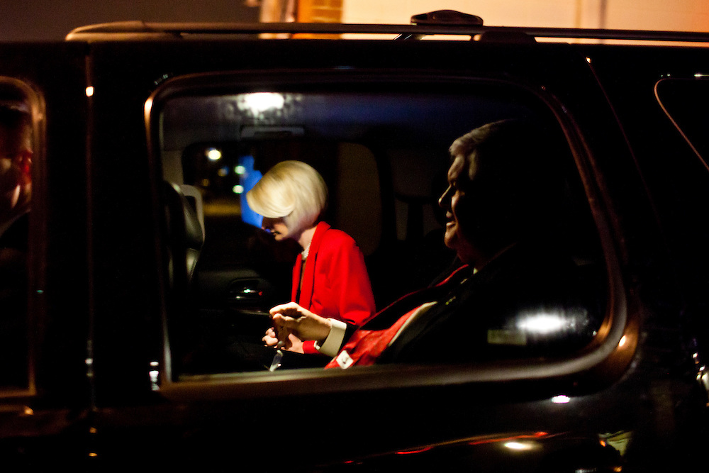 Republican presidential candidate Newt Gingrich and his wife Callista Gingrich leave a meet and greet at Swamp Fox Restaurant on Tuesday, December 20, 2011 in Knoxville, IA.