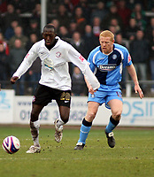 Photo: Mark Stephenson/Richard Lane Photography. <br /> Hereford United v Wycombe Wanderers. Coca-Cola League Two. 15/03/2008. Hereford's Toumani Diagouraga is on the ball from Gary Holt