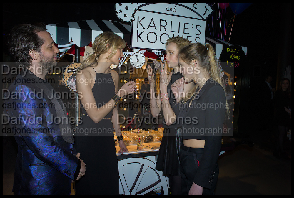 DEREK BLASBERG; KARLA KLOFF; EDIE CAMPBELL; OLYMPIA CAMPBELL, The World's First Fund Fair  in aid of Natalia Vodianova's charity the Naked Heart Foundation. The Roundhouse. London. 24 February 2015.