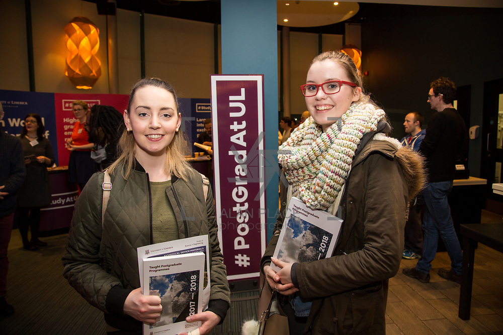 09.03.2017<br /> Pictured at the University of Limerick Post Grad Open Evening in the North Campus Pavilion were, Amy Fahy, UL Food Science and Health and Eva Quinlan, UL Food Science and Health. Picture: Alan Place