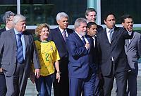 20100526: BRASILIA, BRAZIL - Brazilian President Luiz Inacio Lula da Silva welcomes Brazil National Football Team at Alvorada Palace. In picture: Lula da Silva (C) and his wife Marisa Leticia (wearing Brazil's jersey) with Orlando Silva (Brazil's Sports Minister, R). PHOTO: CITYFILES
