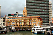 Auckland harbour, Ferry Building, Edwardian, 1912, boats docked, tall buildings, downtown