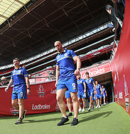 Steve Price (Coach) (L) and Chris Hill (R) Captain of Warrington Wolves walk out during the Warrington Wolves Captains Run ahead of the Ladbrokes Challenge Cup Final at Wembley Stadium, London<br /> Picture by Stephen Gaunt/Focus Images Ltd +447904 833202<br /> 24/08/2018