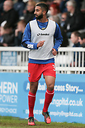 Samir Nabi (Carlisle United) watches the game as he warms up on the sideline during the EFL Sky Bet League 2 match between Hartlepool United and Carlisle United at Victoria Park, Hartlepool, England on 14 April 2017. Photo by Mark P Doherty.