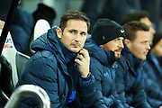 Chelsea manager Frank Lampard takes his seat on the Chelsea bench during the Premier League match between Newcastle United and Chelsea at St. James's Park, Newcastle, England on 18 January 2020.