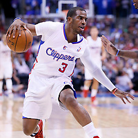 15 April 2014: Los Angeles Clippers guard Chris Paul (3) dribbles during the Los Angeles Clippers 117-105 victory over the Denver Nuggets at the Staples Center, Los Angeles, California, USA.
