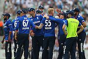 England players celebrate the wicket of New Zealand Kane Williamson during the Royal London One Day International match between England and New Zealand at the Oval, London, United Kingdom on 12 June 2015. Photo by Phil Duncan.