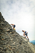 Racers tackle a steep section on Mount Marathon during the 2018 race.