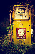 An old Shell gas pump stands decaying on an abandoned farm in southern New Jersey.