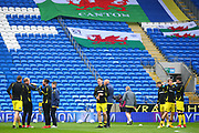 Burton players warm up during the EFL Sky Bet Championship match between Cardiff City and Burton Albion at the Cardiff City Stadium, Cardiff, Wales on 30 March 2018. Picture by John Potts.