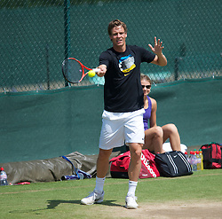 LONDON, ENGLAND - Saturday, July 3rd, 2010: Tomas Berdych (CZE) practices ahead of his Men's Singles Final on day twelve of the Wimbledon Lawn Tennis Championships at the All England Lawn Tennis and Croquet Club. (Pic by David Rawcliffe/Propaganda)
