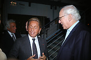VALENTINO AND SIR EVELYN DE ROTHSCHILD, Dinner given by Established and Sons to celebrate Elevating Design.  P3 Space. University of Westminster, 35 Marylebone Rd. London NW1. -DO NOT ARCHIVE-© Copyright Photograph by Dafydd Jones. 248 Clapham Rd. London SW9 0PZ. Tel 0207 820 0771. www.dafjones.com.