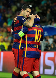 Luis Suarez of Barcelona celebrates with Lionel Messi - Mandatory byline: Matt McNulty/JMP - 16/03/2016 - FOOTBALL - Nou Camp - Barcelona,  - FC Barcelona v Arsenal - Champions League - Round of 16