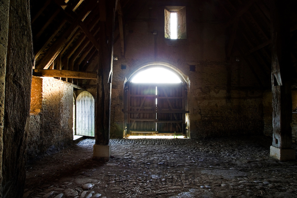 Great Coxwell Barn interior, owned by the National Trust, Cotswolds, Oxfordshire, UK