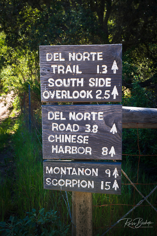 Trail sign, Santa Cruz Island, Channel Islands National Park, California USA