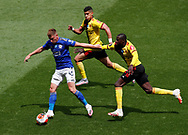 Harvey Barnes of Leicester City chased by Adam Masina and Abdoulaye Doucoure of Watford during the Premier League match at Vicarage Road, Watford. Picture date: 20th June 2020. Picture credit should read: Darren Staples/Sportimage