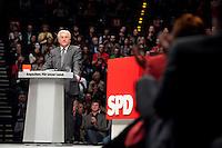 """19 APR 2009, BERLIN/GERMANY:<br /> Frank-Walter Steinmeier, SPD, Bundesaussenminister und Spitzenkandidat fuer die Bundestagswahl, haelt eine Rede Abschlussveranstaltung der Reihe """"Das Neue jahrzehnt"""" mit Praesentation des Regierungsprogramms, Tempodrom<br /> IMAGE: 20090419-01-080<br /> KEYWORDS: Wahlprogramm, speech"""
