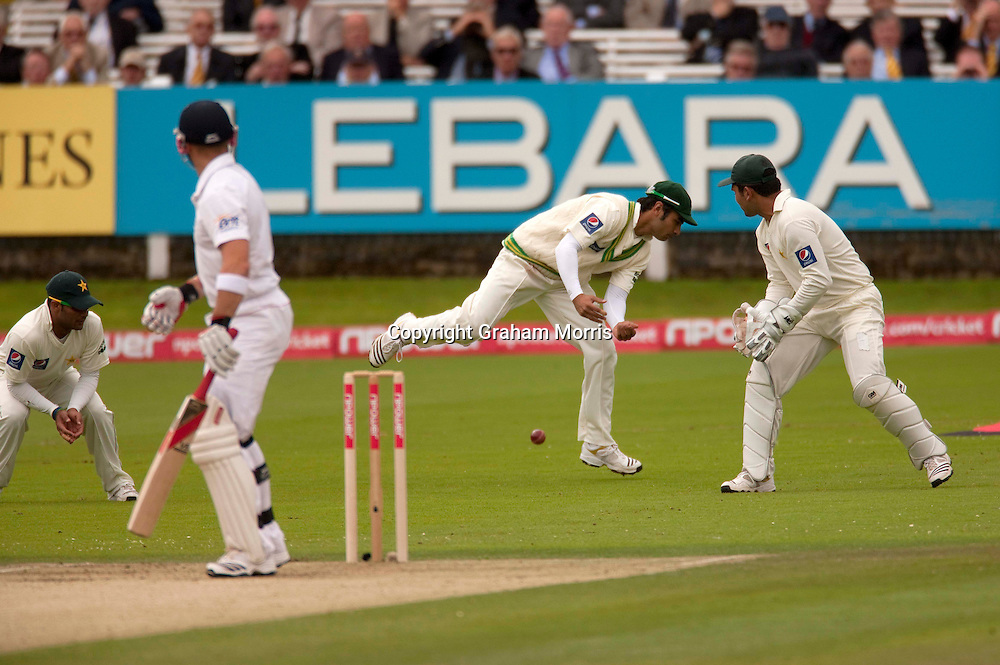 Salman Butt doesn't stop an edge for four off Matt Prior during the final npower Test Match between England and Pakistan at Lord's.  Photo: Graham Morris (Tel: +44(0)20 8969 4192 Email: sales@cricketpix.com) 27/08/10