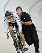 Matt Archibald and sprint coach Anthony Peden in the Avanti BikeNZ Classic, Avantidrome, Cambridge, New Zealand, Thursday, September 18, 2014, Credit: Dianne Manson/BikeNZ
