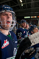 KELOWNA, CANADA - JANUARY 5: Sami Moilanen #18, Dillon Hamaliuk #22, and Zack Andrusiak #20 of the Seattle Thunderbirds stand at the bench and trash talk the Kelowna Rockets' bench on January 5, 2017 at Prospera Place in Kelowna, British Columbia, Canada.  (Photo by Marissa Baecker/Shoot the Breeze)  *** Local Caption ***