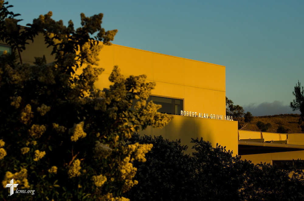 An exterior photograph of Robert Alan Grimm hall during sunset at Concordia University Irvine on Tuesday, July 8, 2014, in Irvine, Calif. LCMS Communications/Erik M. Lunsford