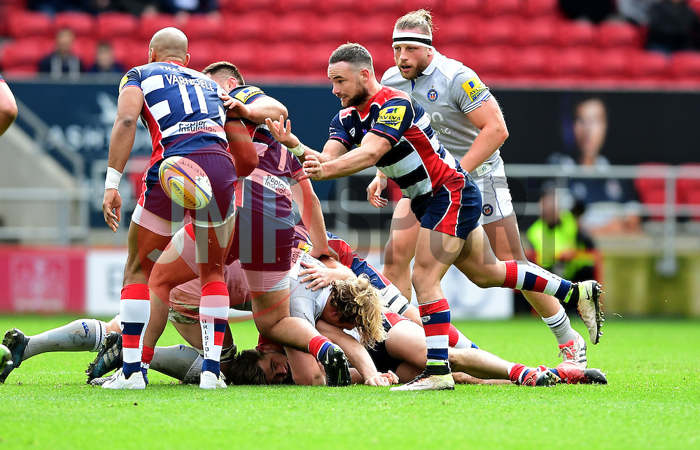 Alby Mathewson of Bristol Rugby passes the ball  - Mandatory by-line: Joe Meredith/JMP - 26/02/2017 - RUGBY - Ashton Gate - Bristol, England - Bristol Rugby v Bath Rugby - Aviva Premiership