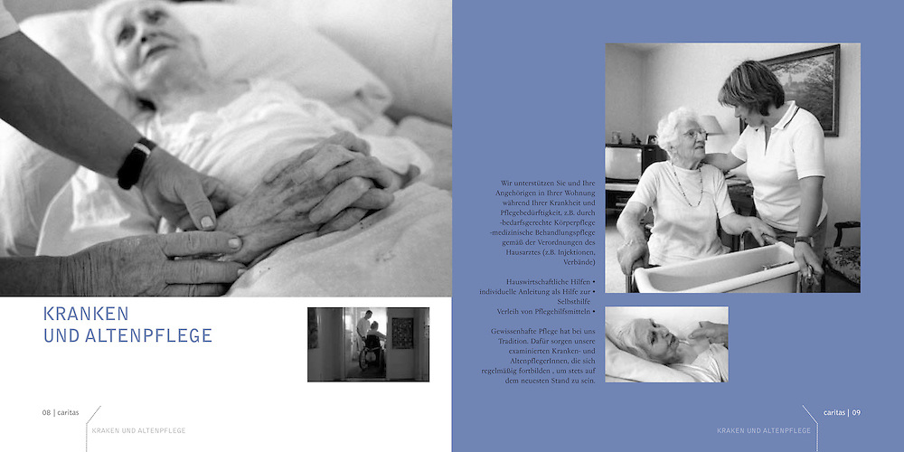"Publication for the charitable services ""Caritas"" Oberursel for their 25th anniversary. (""Ökumenische Sozialstation für Ambulante Pflege- und Hilfsdienste"") Photography: Lucie Steinzova, Björn Steinz Graphic design : Michal Holik"