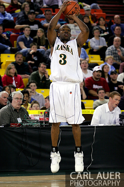 24 November 2005:  University of Alaska Anchorage senior guard Kemmy Burgess takes a shot in the UAA Seawolves 60-65 loss to the South Carolina Gamecock's in the first round of the Great Alaska Shootout at the Sullivan Arena in Anchorage Alaska.