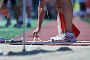Judges in action while long jump competition during third day of the Special Olympics World Games Los Angeles 2015 on July 27, 2015 at Loker Stadium on University of Southern California in Los Angeles, USA.<br /> USA, Los Angeles, July 27, 2015<br /> <br /> Picture also available in RAW (NEF) or TIFF format on special request.<br /> <br /> For editorial use only. Any commercial or promotional use requires permission.<br /> <br /> Adam Nurkiewicz declares that he has no rights to the image of people at the photographs of his authorship.<br /> <br /> Mandatory credit:<br /> Photo by &copy; Adam Nurkiewicz / Mediasport