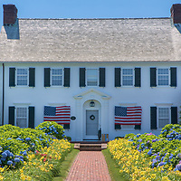 Cape Cod Hydrangea Walk Cape Cod Hydrangea Festival is an annual celebration of Cape Cod's gardens and iconic flower. Every year tourists and locals flock to the Cape in July to see the blue, pink, purple and white flowers reaching full bloom. This image was taken in Chatham, Massachusetts. One beautiful setting is Cape Cod Hydrangea Walk in Chatham, Massachusetts.<br />