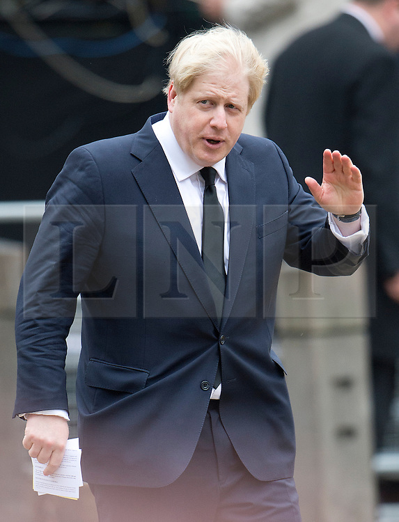 © London News Pictures.17/04/2013. London, UK.  London Mayor Boris Johnson arriving at St Paul's Cathedral in London for The Funeral of former British Prime Minister, Margaret Thatcher on April 17, 2013. Photo credit : Ben Cawthra/LNP