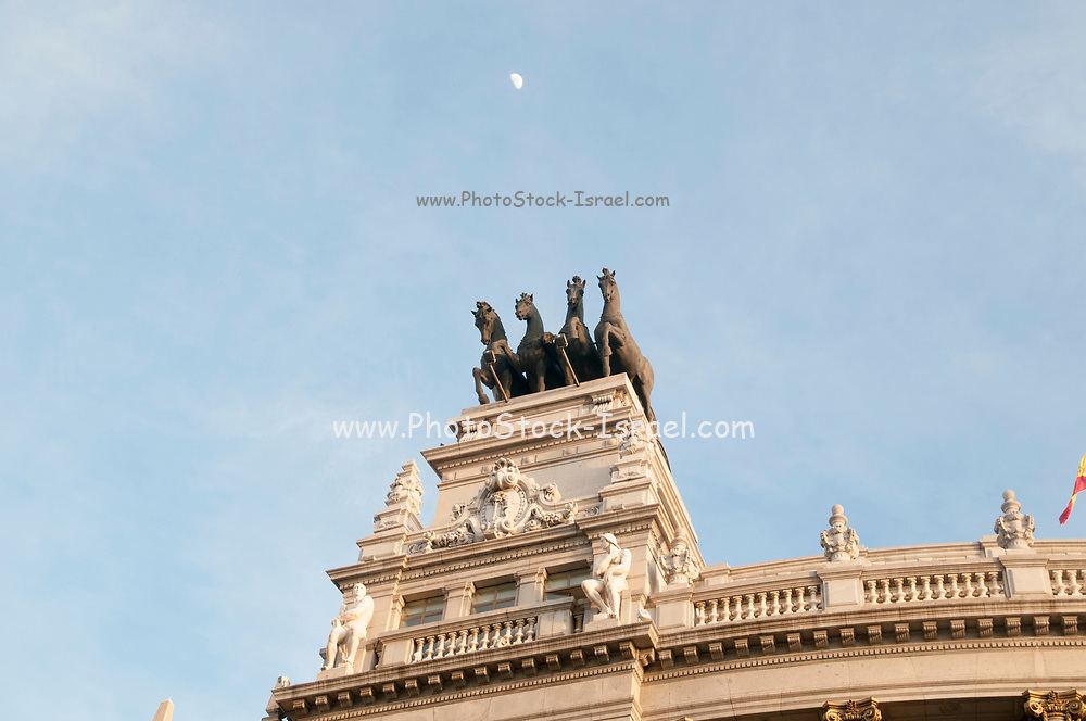 Statue on top of a building, Calle de Alcala, Madrid, Spain