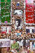 MARRAKESH, MOROCCO - 19TH APRIL 2016 - Close up of photos of King Mohammed VI put up by locals inside the main shopping souks of, Marrakesh, Morocco. A large space inside the main shopping souks of the Marrakesh medina has become dedicated to images of King Mohammed VI over time.