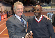 Feb 9, 2019; New York, NY, USA; Wanamaker Mile former winners Eamonn Coghlan (IRL), left, and Bernard Lagat (USA) react during the 112th Millrose Games at The Armory.